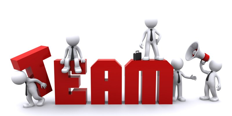 Teamwork. Conceptual business illustration. White background